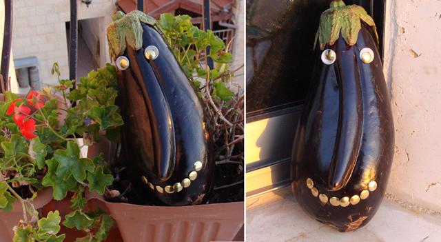 Funny Eggplant Centerpiece