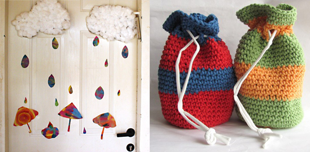 Coffee filter raindrops+crochet pouches