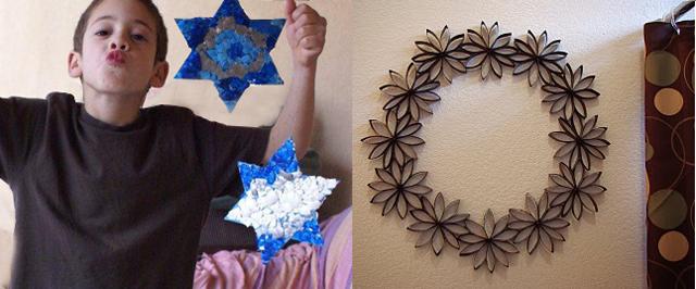 Eggshell stars+ toilet paper tube wreath