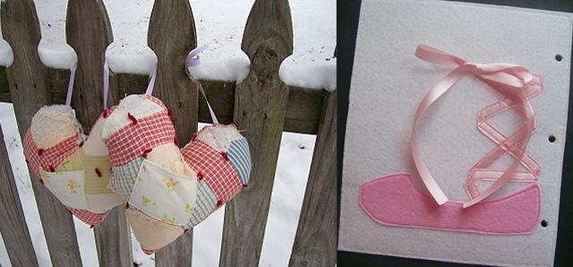 Upcycled quilt heart, felt ballet slipper