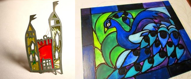 Kids drawing charm,faux stained glass