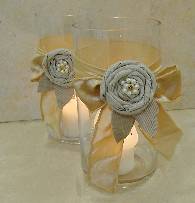 Rolled Rag Flowers And Fabric Ribbons Last Minute Centerpieces