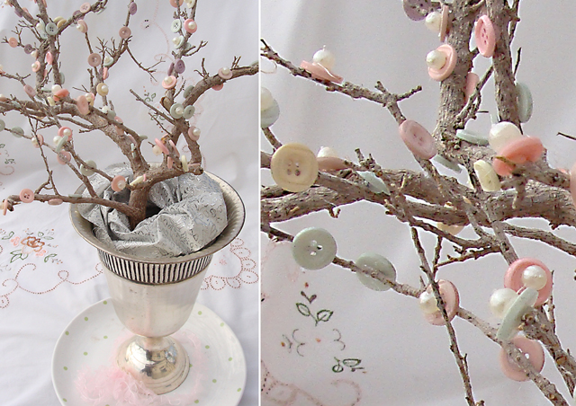 Button & Pearls Cherry Blossom Tree