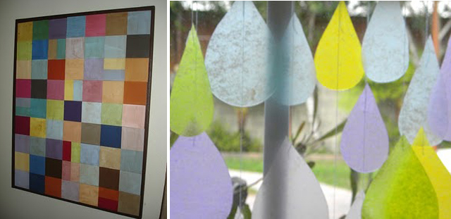 Paint chip art+rain drop sun catcher