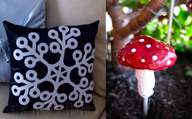 Snowflake applique pillow -paper mache mushroom