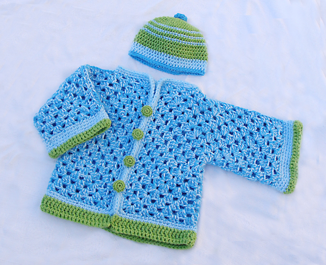 A Simple Sweet Crocheted Baby Sweater The Granny Hex Goes Chunky