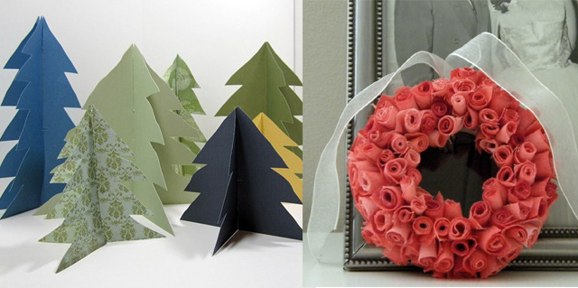 Paper Pine Trees+Rose Bud Wreath