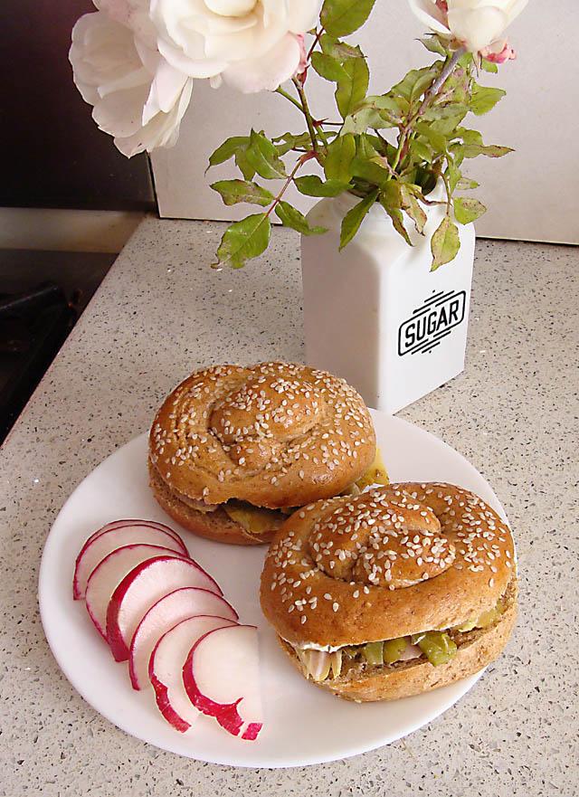 Whole Wheat Pretzel Roll Sandwich
