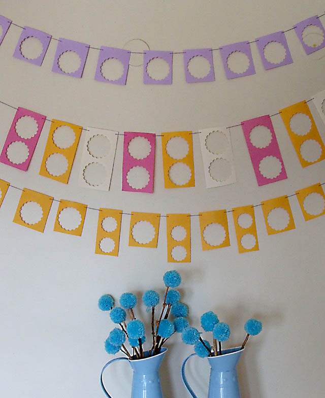 Scalloped Circle Leftovers Bunting on wall