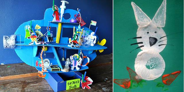 Submarine and potato print rabbit