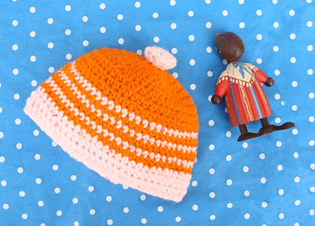 Crocheted Baby Hat Stripes For A Girl