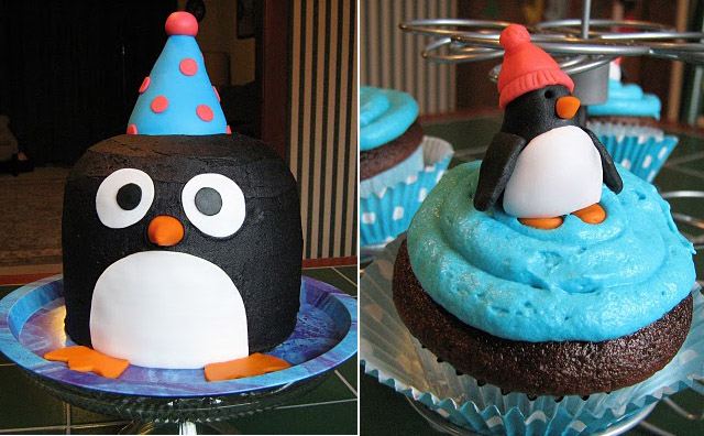 Penguin Cake and Cupcakes