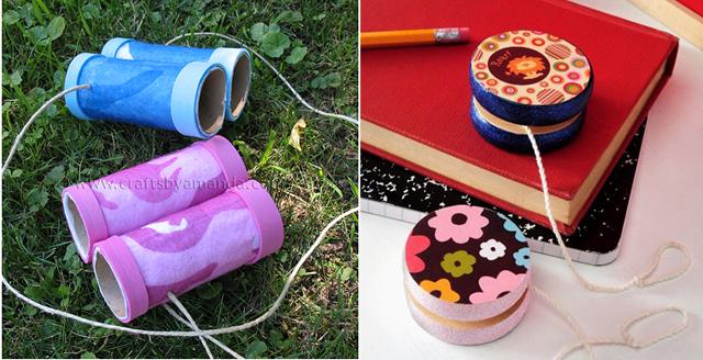 Toilet paper tube binoculars, mod podged yo-yos