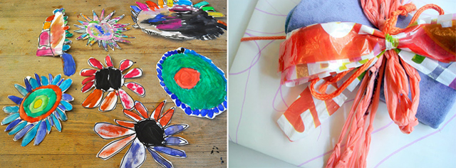 Eco gift wrap, kid's flowers project