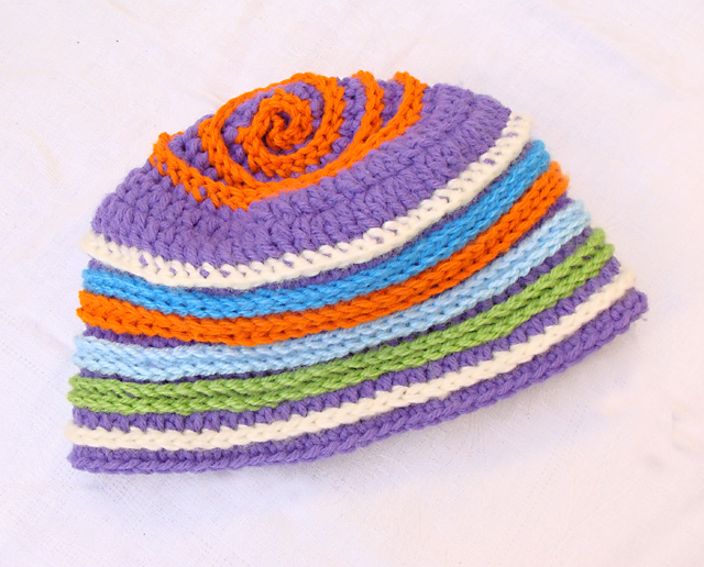 Crocheted Beanie With Added Stripes
