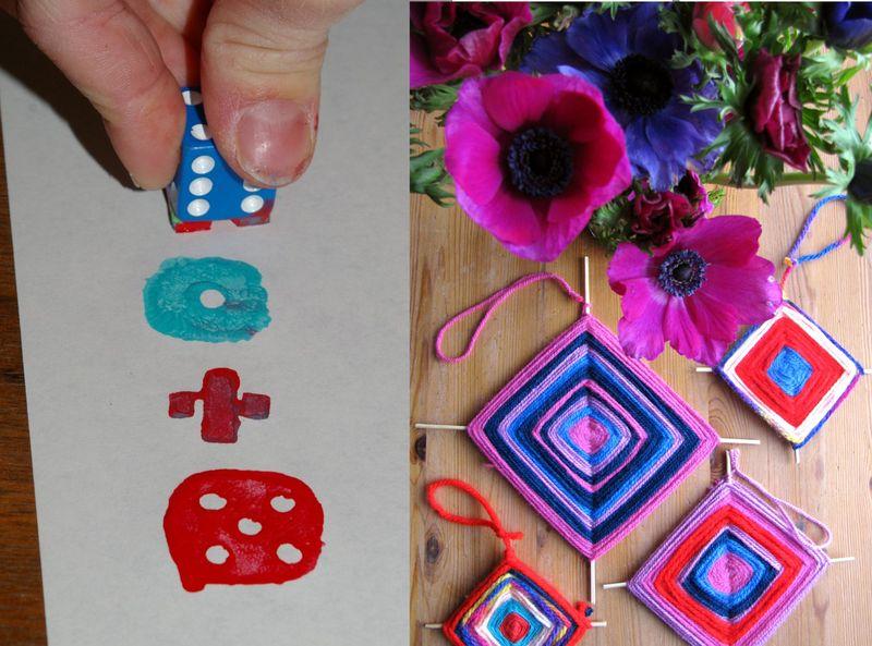 Printing with dice, yarn crafts