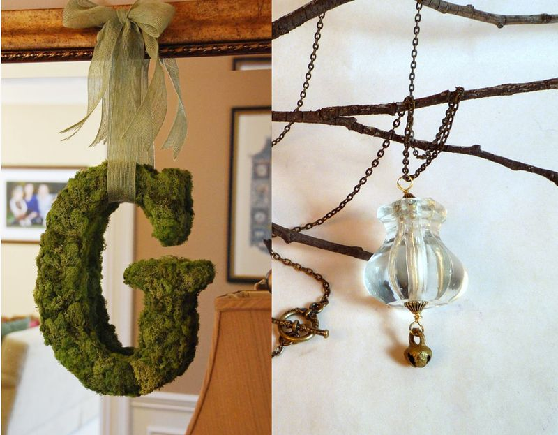Moss letter, drawer pull necklace