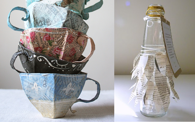 Paper mache teacups, seed garland