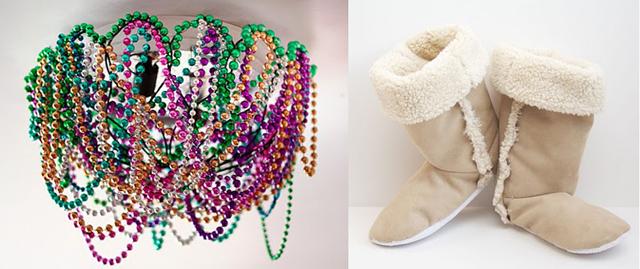 Mardi gras bead light shade, sherpa boot slippers