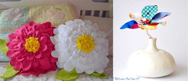 Fleece flower petal pillows, fabric flowers