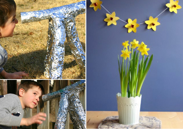 Foil telescope, daffodil bunting