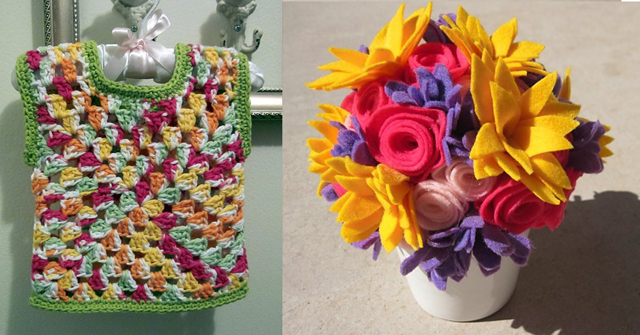 Crocheted Granny vest, felt flower bouquet