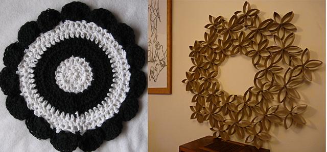 Toilet paper roll wreath +crocheted bulls eye trivet