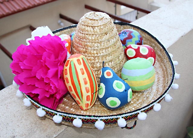 Mexican Hat With Painted Fruit