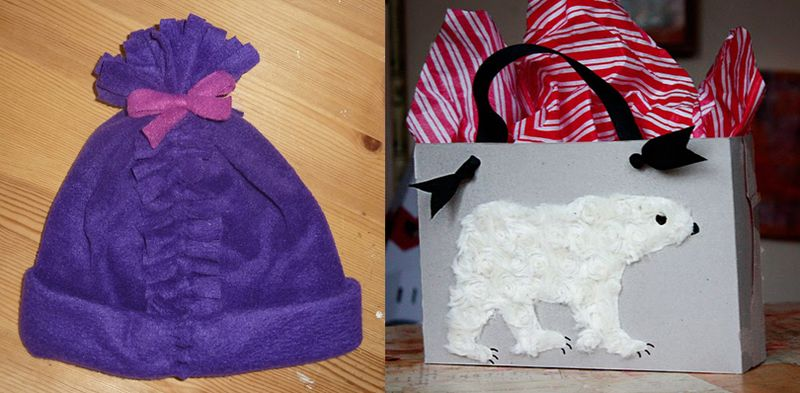 Cereal box gift box,no sew fleece hat