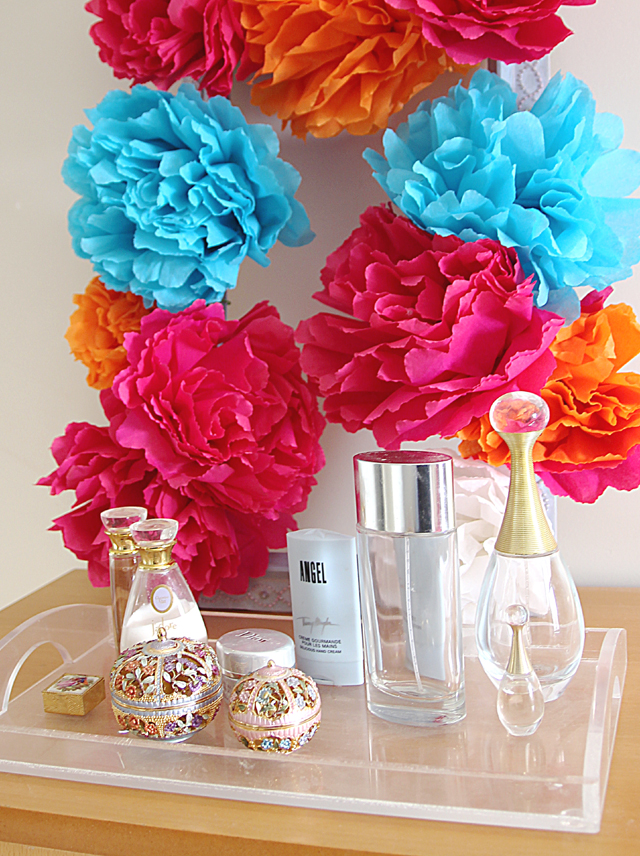 A five minute diy decor project a square crepe paper flower wreath mexican crepe paper flower wreath mightylinksfo Gallery
