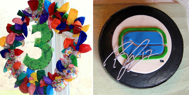 Birthday Balloon Wreath, hockey puck cake