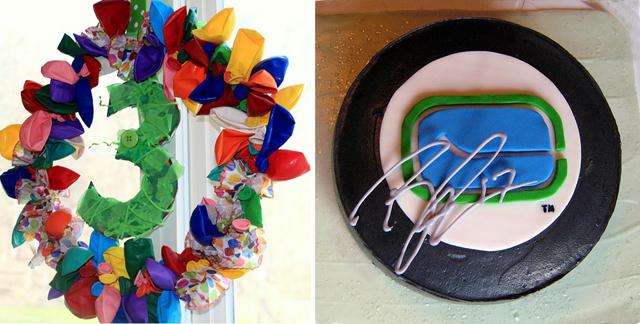 Birthday Balloon Wreath, hockey puck cake