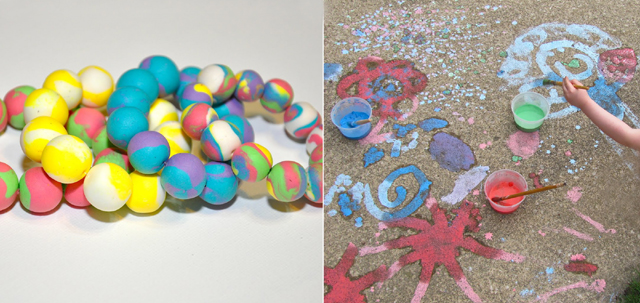 Homemade chalk paint and clay beads
