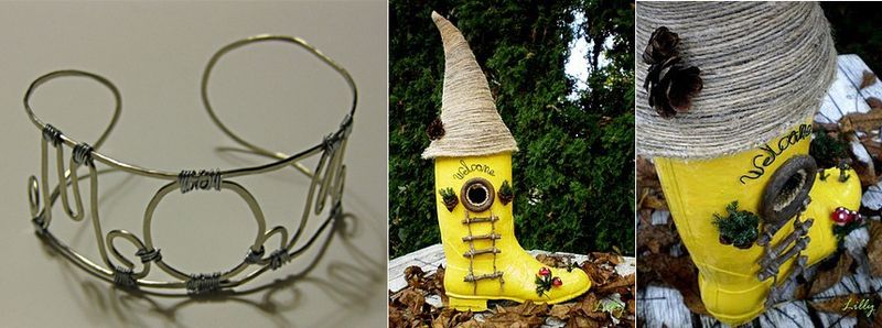 Rain boot gnome garden house, mom wire bracelet