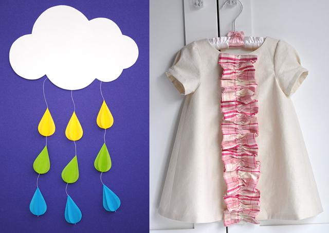 Rain cloud paper mobile,ruffle front baby dress