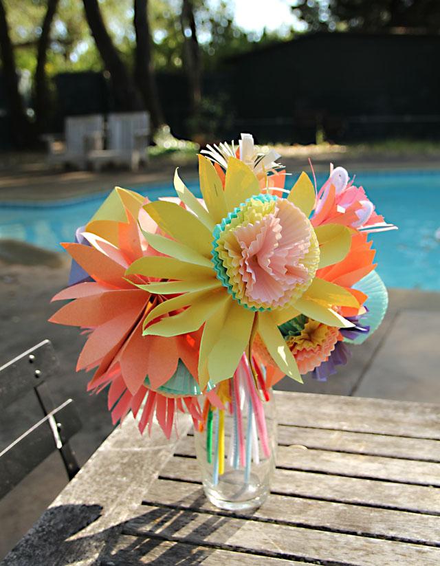 Cupcake liner flowers meet paper accordian folded flowers by the pool