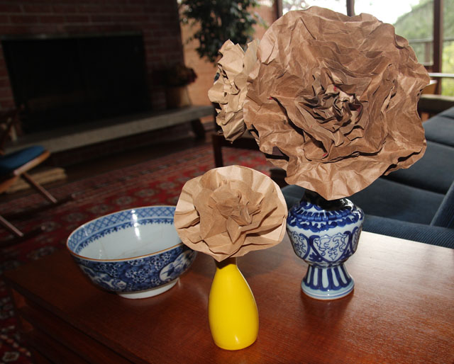 Paper Bag Flowers In Two Vases