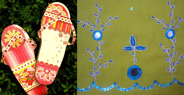 Corrugated cardboard scrap sandals-indian style embroidery