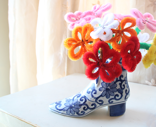 Pipe Cleaner Flowers in Shoe