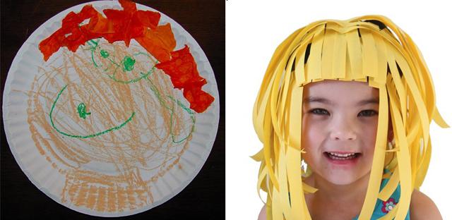 Paper Plate Portrait, Paper wig craft