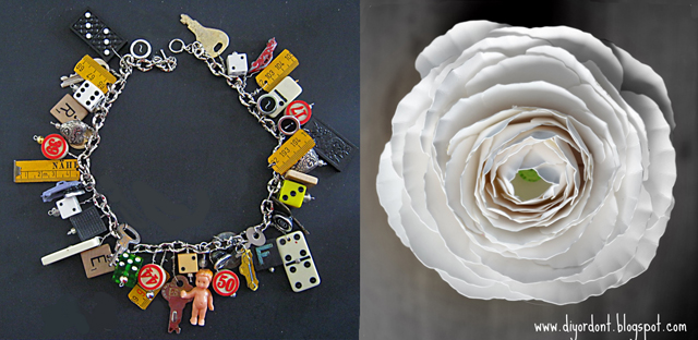 Toy charm necklace,raninculus paper flower