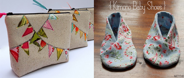 Bunting cosmetic case, baby kimono shoes