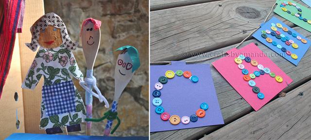 Creative kids puppets, camp button banner