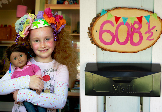 Paper bowl hat, playhouse address plaque