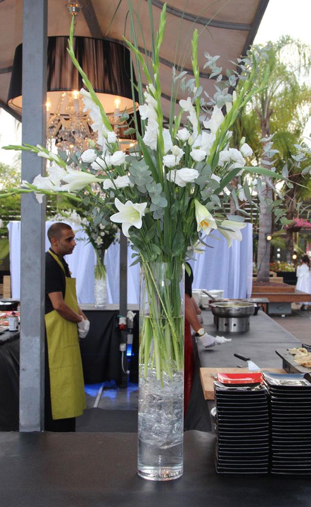 Wedding flowers gladiolas tall centerpiece