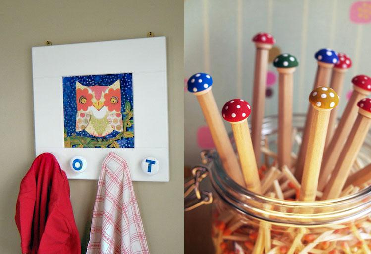 Owl clothers hanger,mushroom pencils
