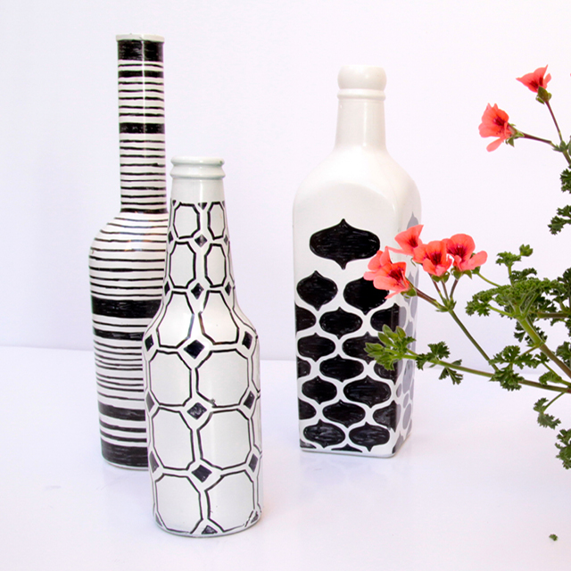 Painted Bottles With Geometric Pen Drawings 2