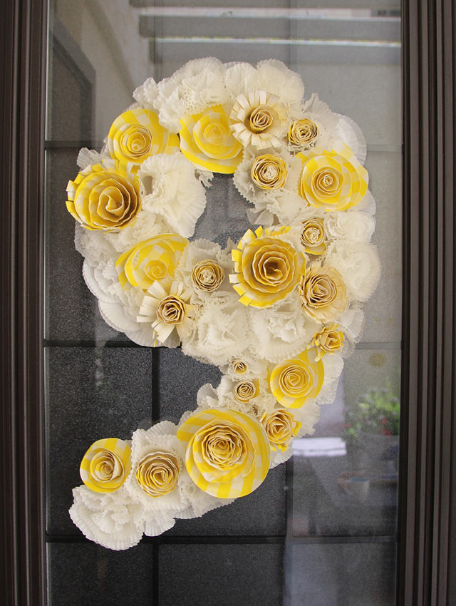Birthday Wreath From Cupcake Liners + Paper Plate Flowers - creative ...