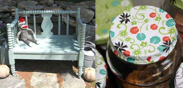 DIY bench,decoupaged jar tops