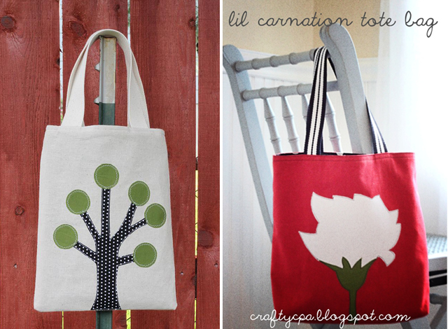 Simple applique totebags
